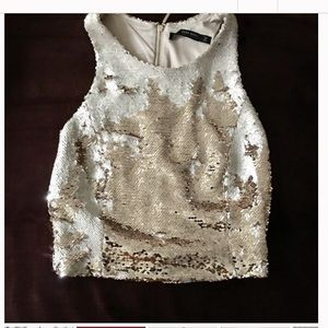 Cropped sequin tank top from Zara size small
